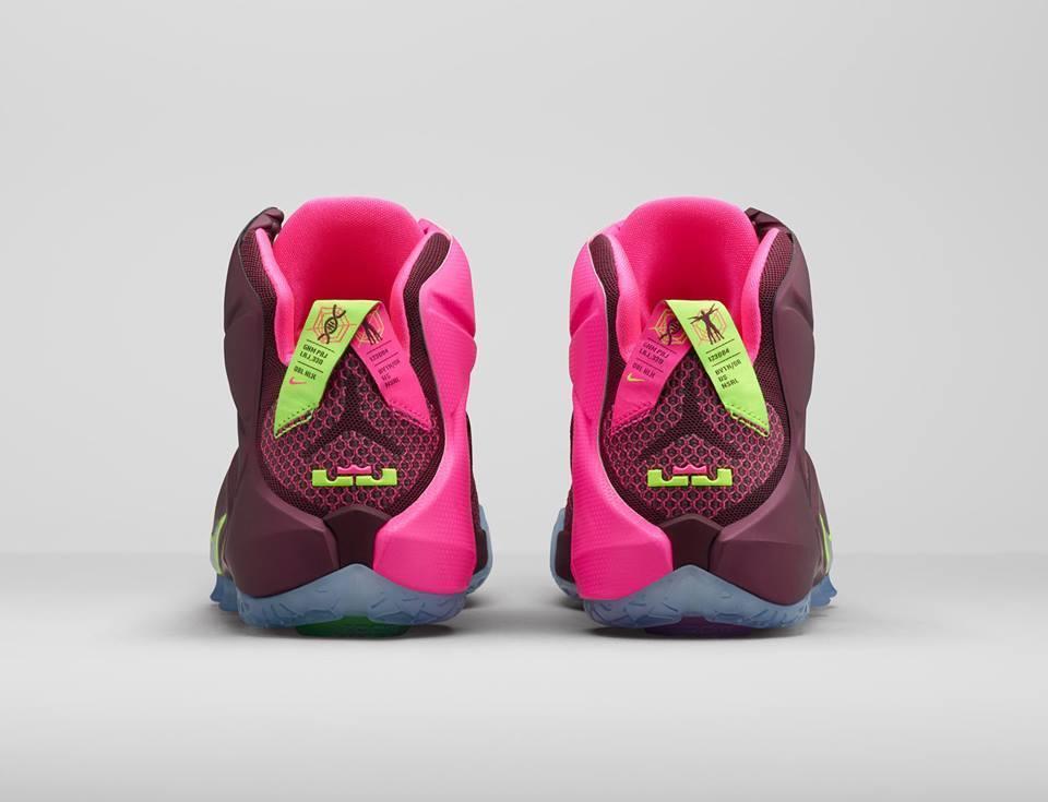 Nike Lebron XII 12 Double Helix Merlot Merlot Merlot Red Pink Volt Multicolor 684593-607 Sz 13 fdde32