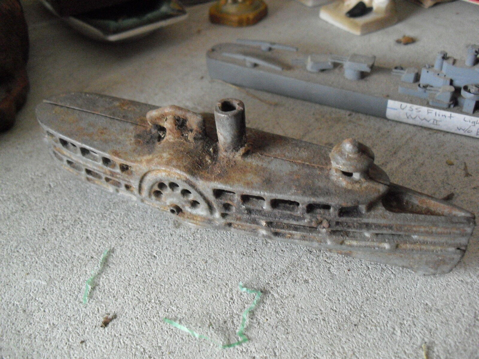 RARE Antique Cast Iron Steamboat Ship 7 1 2  Long LOOK