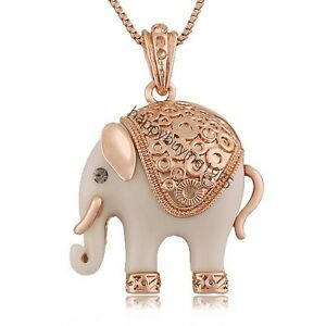 Loyalty-Lucky-Elephant-Crystal-Fashion-jewelry-Necklace-18K-Rose-Gold-Plated-619