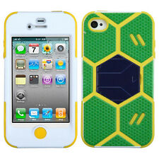 For Apple iPhone 4 / 4S GOAL KICK STAND Hard Case Silicone Cover Football Soccer