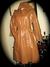 Curly Top MOD VINTAGE-Y HIPSTER COAT HOODED CAMEL BROWN VEGAN FAUX LEATHER PVC S