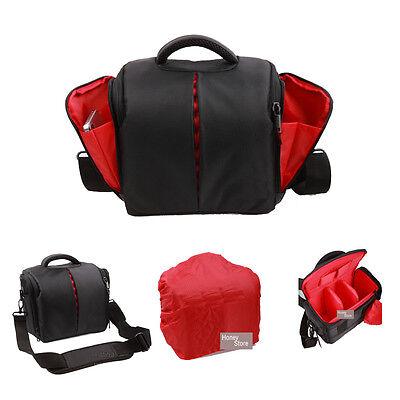 SLR DSLR Lens Camera Bag Carry Case For Nikon Canon Sony Cover+RainCover