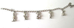Vintage-Women-039-s-Disney-Charm-Bracelet-Silver-Plate-With-5-Charms-7-5-034