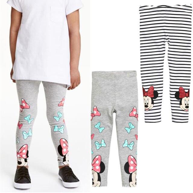 Girls Kids Children Minnie Mouse Striped Leggings Skinny Slim Pants Trousers US