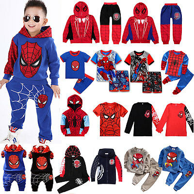 Pants Outfits Set Kids Boys Tracksuit Spiderman Hoodies Sweatshirt Jacket Tops