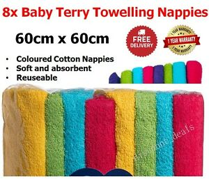 8 Cotton Nappies Baby Terry Towelling Nappies Infant Newborn Cloth