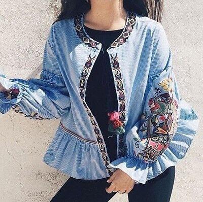 Zara Sequin Bordada a Rayas Chaqueta Blusa Kimono Blusa