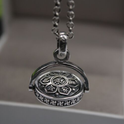 REAL 925 Sterling Silver Pendant Blessing Buddhist Sutra Pendant 30mm H