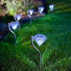 Outdoor Stainless Steel Diamond LED Solar Power Light Garden Landscape Lamp