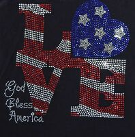 Rhinestone Love With Flag Iron-on Transfer, Tanktops, 10x9.5 Inches