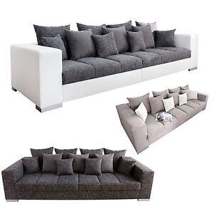 Design Xxl Sofa Big Sofa Island Strukturstoff Inkl Kissen Farbwahl