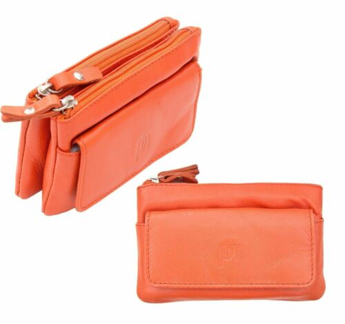 Prime Hide Luxury Large Orange Leather Double Zip Top Coin Purse with Key Chain