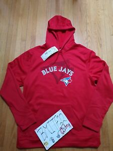 cheap for discount 05e63 65745 Details about NWT Toronto Blue Jays Majestic MLB Men Red Therma Intense  Action Hoodie Jacket L