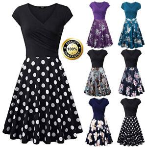 Summer-New-Casual-Womens-Short-Sleeve-V-Neck-Vintage-Elegant-Party-A-Line-Dress