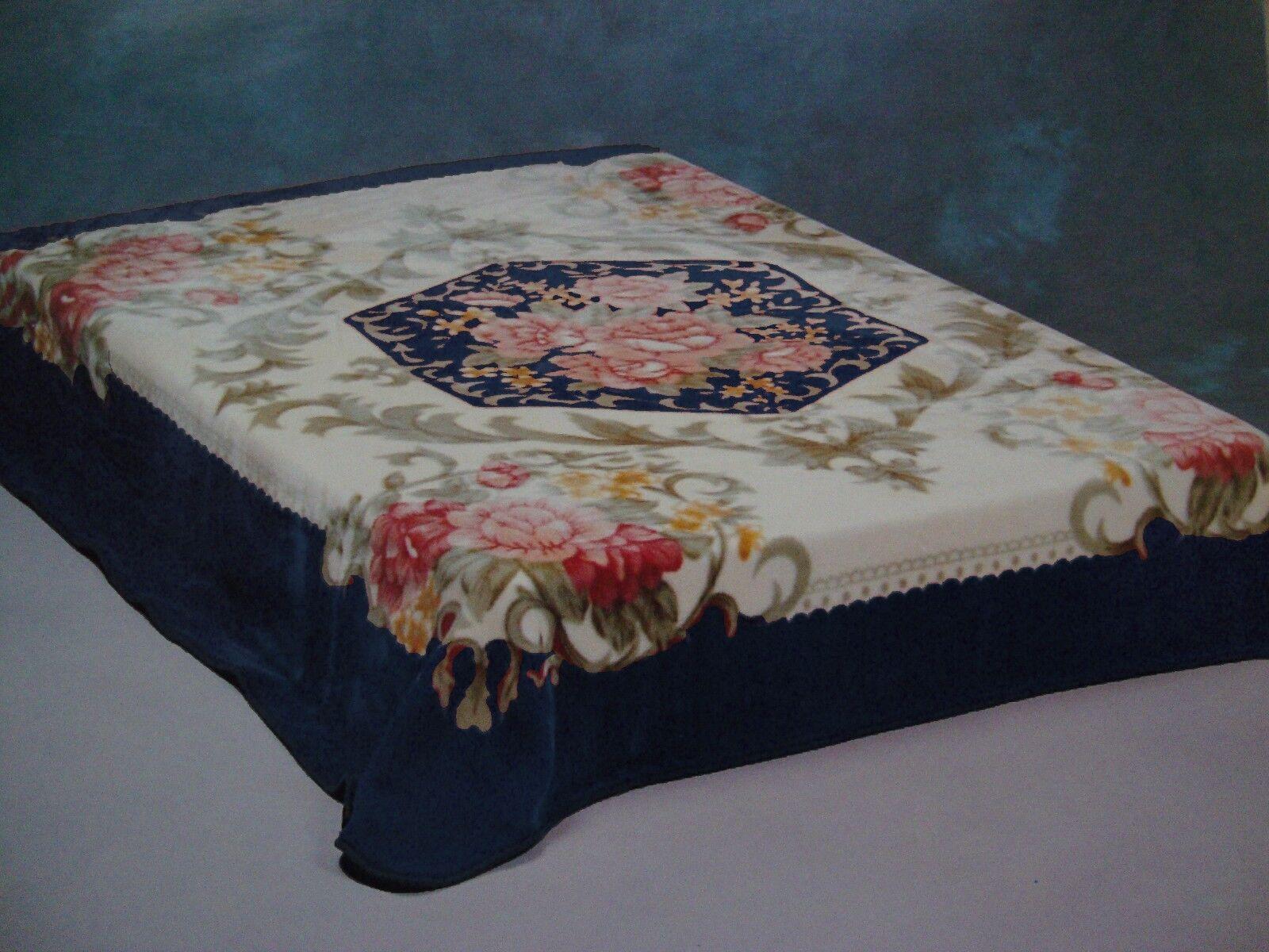 Korean Mink Blanket - Queen - Flower Design - Navy bluee - Premium Quality