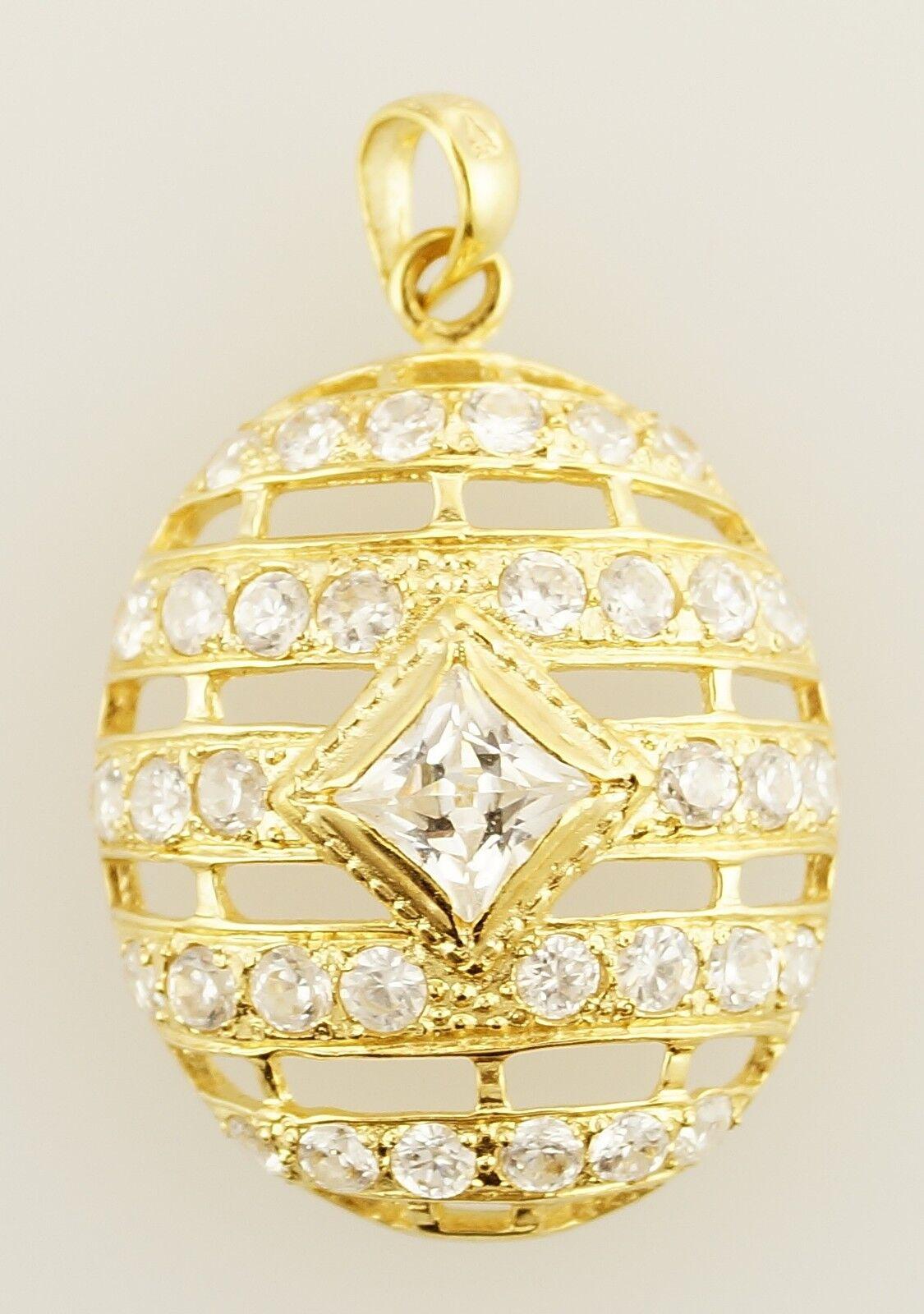 21k Yellow gold Cubic Zirconia Ladies Pendant