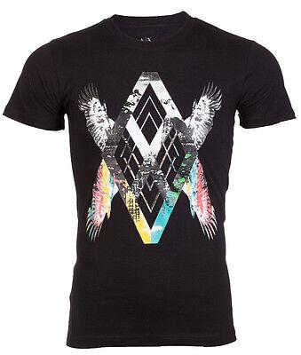 ARMANI EXCHANGE AX Men T-Shirt WINGS Slim BLACK Casual Designer Jeans M-XL $48