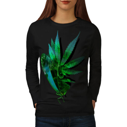 Insect Casual Design Wellcoda Marijuana Butterfly Womens Long Sleeve T-shirt