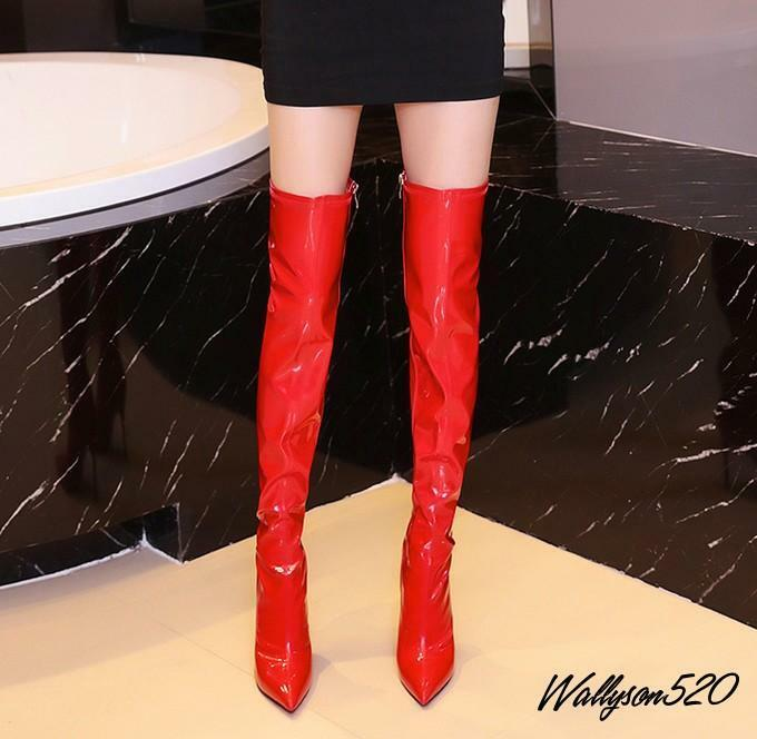 Sexy Womens High Heels stiletto buckle Wing Tip Over The Knee Thigh knight Boots