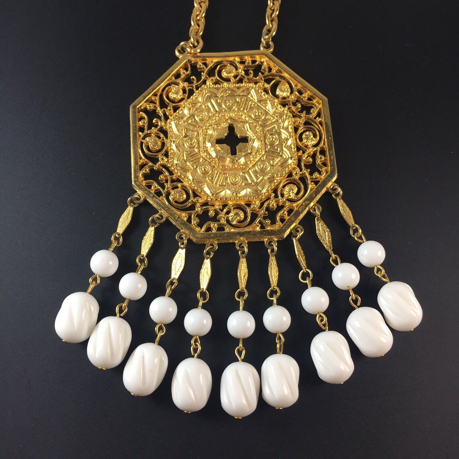 VENDOME Spectacular 5-STRAND AB Crystal and Brushed Gold Necklace and Earrings!