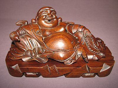 Chinese Hand Carved Wood Budai Happy Laughing Buddha Censer Box Incense Holder