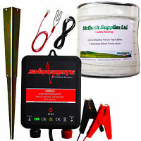Electric Fence Energiser Srb06 12v 200m X 40mm Polytape Horse Pony Kit