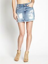 100% AUTHENTIC NEW WOMENS GUESS Skirts Denim Distressed Mini Skirt SZ 25 blue