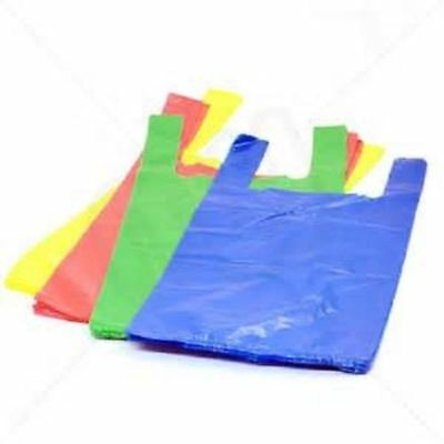 """JUMBO 100 x STRIPE RED OR BLUE PLASTIC VEST STYLE CARRIER BAGS 12 x 18 x 22/"""""""