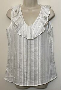 Banans Republic Small Tank Top White Relaxed Fit Ruffle V-Neck Sleeveless Blouse