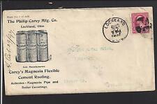LOCKLAND, OHIO 1897 COVER,ILLUST ADVT.  P.CAREY MFG. FLEXIBLE CEMENT ROOFING.