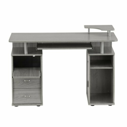 Modern Computer Desk with 2 Storage Drawers /& Pullout Keyboard Tray in Gray