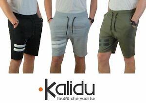 Bermuda-Uomo-Tuta-Pantaloncino-Cotone-Casual-Verde-Nero-Grigio-Shorts-Slim-Fit