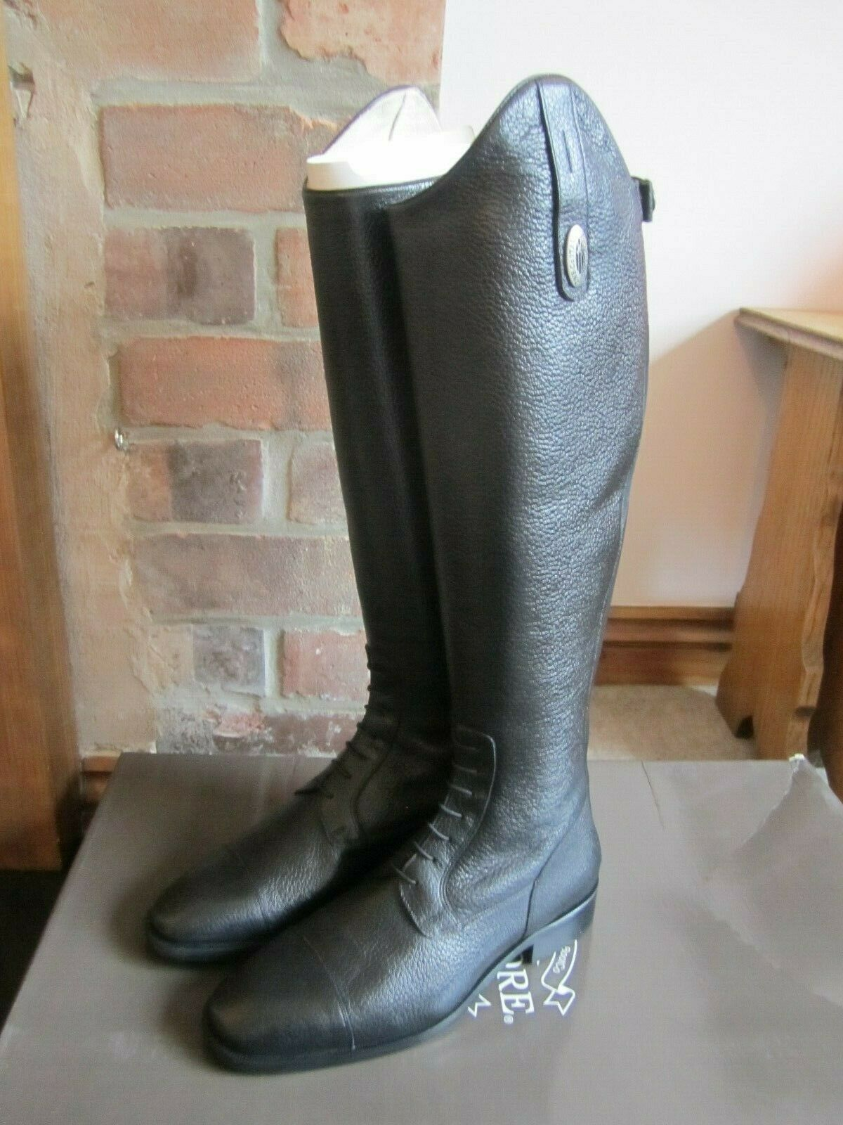 De Niro S3312 de largo de cuero botas de Montar-EU40 UK6.5 (mc M) - Negro-Ex DisJugar
