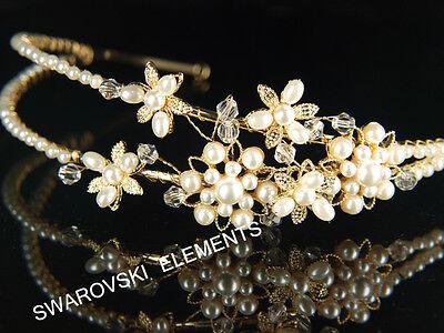 Bridal Faux Pearls made with Swarovski Crystal Gold Plated Headband Tiara T017G