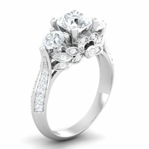 Certified 3.00ct White Diamond Solitaire Antique 14K White Gold Wedding Ring