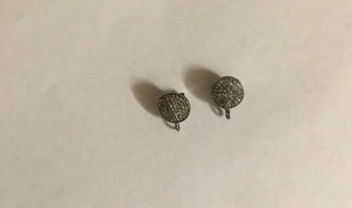 pave white topaz sterling silver stud earring finding