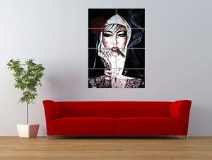 wm bad habits smoking nun tattoo ink giant art print panel poster nor0563 ebay. Black Bedroom Furniture Sets. Home Design Ideas