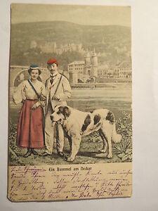 Heidelberg-Ein-Bummel-am-Neckar-1904-Hund-Frau-in-Couleur-Studentika