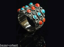Traditioneller Tibetischer Türkis Ring tibetan turquoise ring neusilber  Nr.7