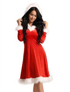 Damen Samt Miss Santa Kleid Mit Kapuze Langarm Partykleid Weihnachten Kostum Ebay