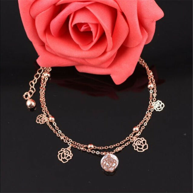 Women  Gold Plated Anklets Flower Carving Hollow Ankle Bracelet Foot Chain LJ
