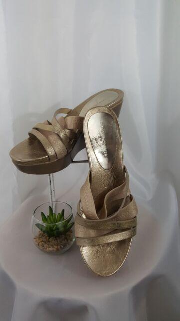 Donald J Pliner Womens Size 9 Gold Metallic Slide in Wedge Sandals Shoes