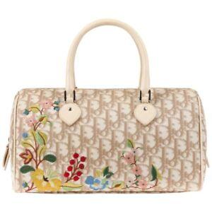 CHRISTIAN-DIOR-S-S-2005-Beige-Diorissimo-Canvas-Floral-Embroidered-Boston-Bag