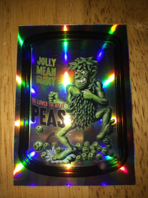 2014 WACKY PACKAGES CHROME REFRACTOR CARD JOLLY MEAN GIANT PEAS 43 GREEN VINTAGE