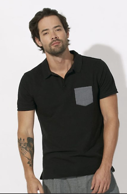 """Rapture Mens Stanley Competes Black Organic Cotton Polo Shirt Grey Pocket Small 38"""" Polos Clothing, Shoes & Accessories"""