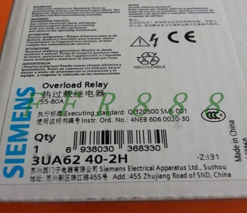 ONE NEW SIEMENS Thermal Overload Relay 3UA6240-2H 55-80A