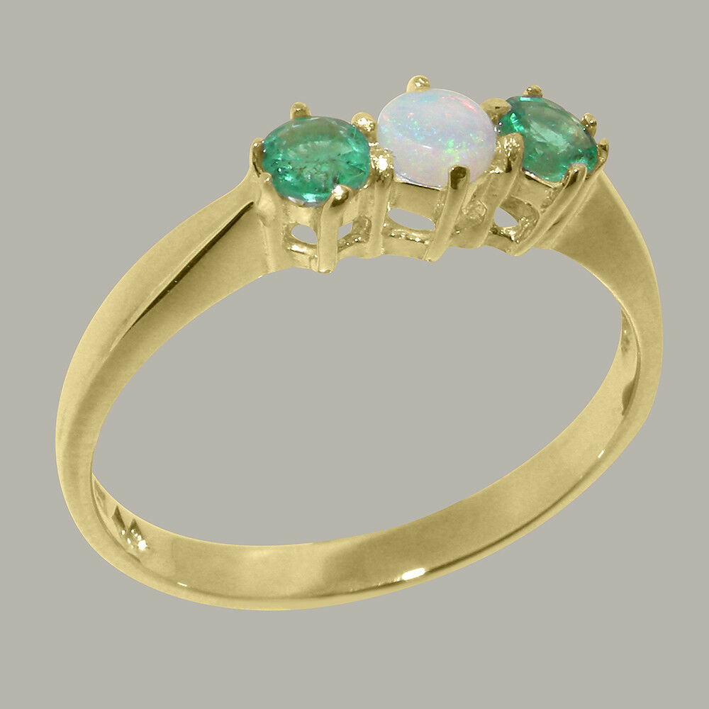 Solid 9ct Yellow gold Natural Opal & Emerald Womens Trilogy Ring - Sizes J to Z
