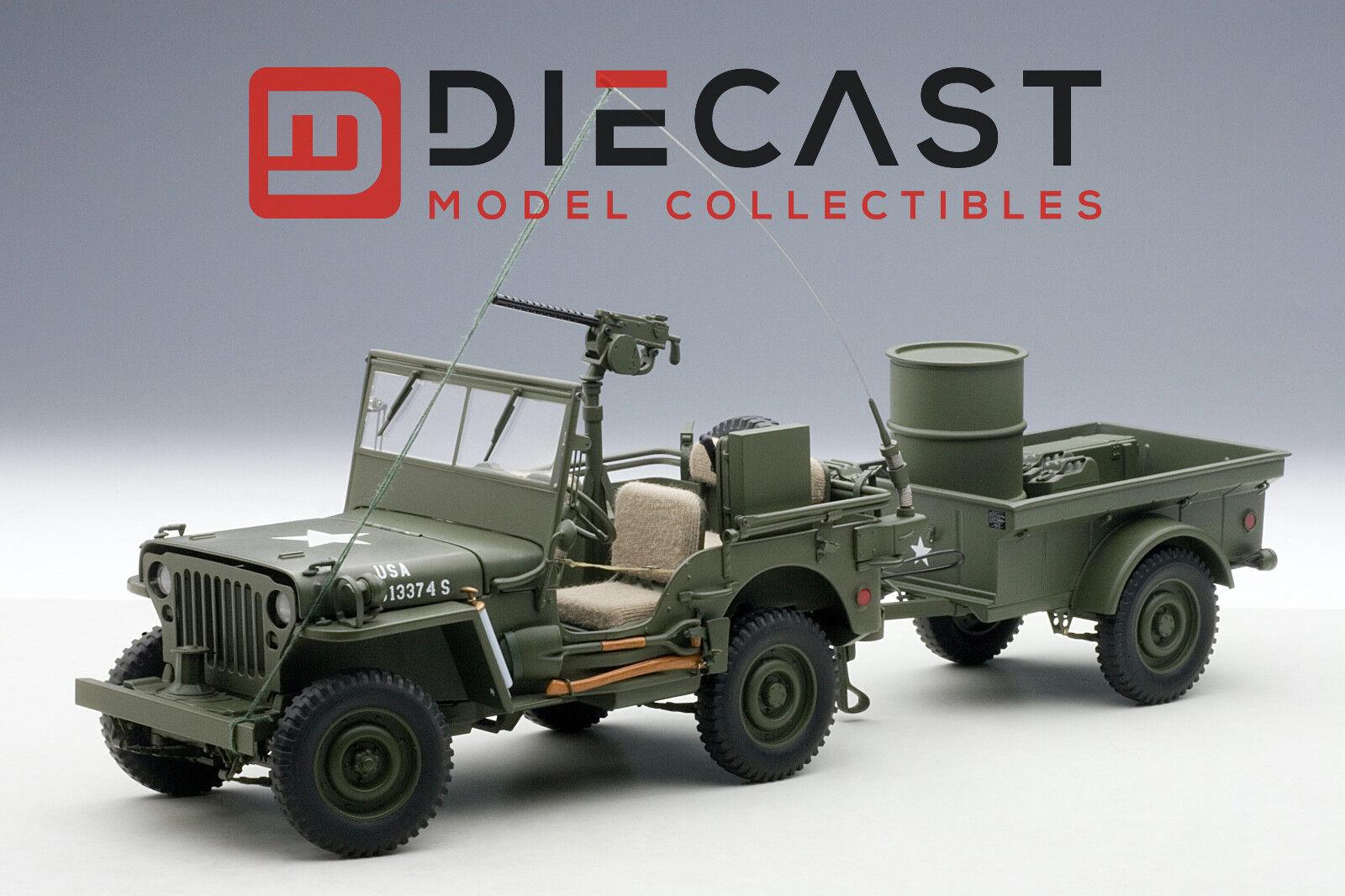 genuina alta calidad Autoart 74016 Jeep Willys verde Militar Con Con Con Remolque Accesorios Incluidos 1 18TH Escala  caliente