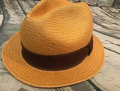 Hats In The Belfry Gangster Sz Medium Tan With Purple Lining And