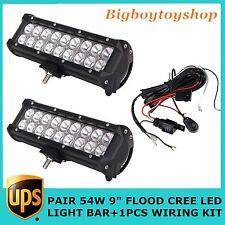 PAIR 9INCH 54W CREE FLOOD LED LIGHT BAR LAMP PLUS 1PCS LOW WIRING KIT JEEP 4WD